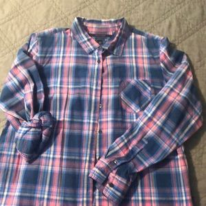 Women's pink/blue Hilfiger button down